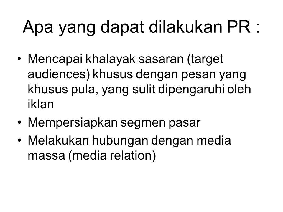 Apa yang dapat dilakukan PR :