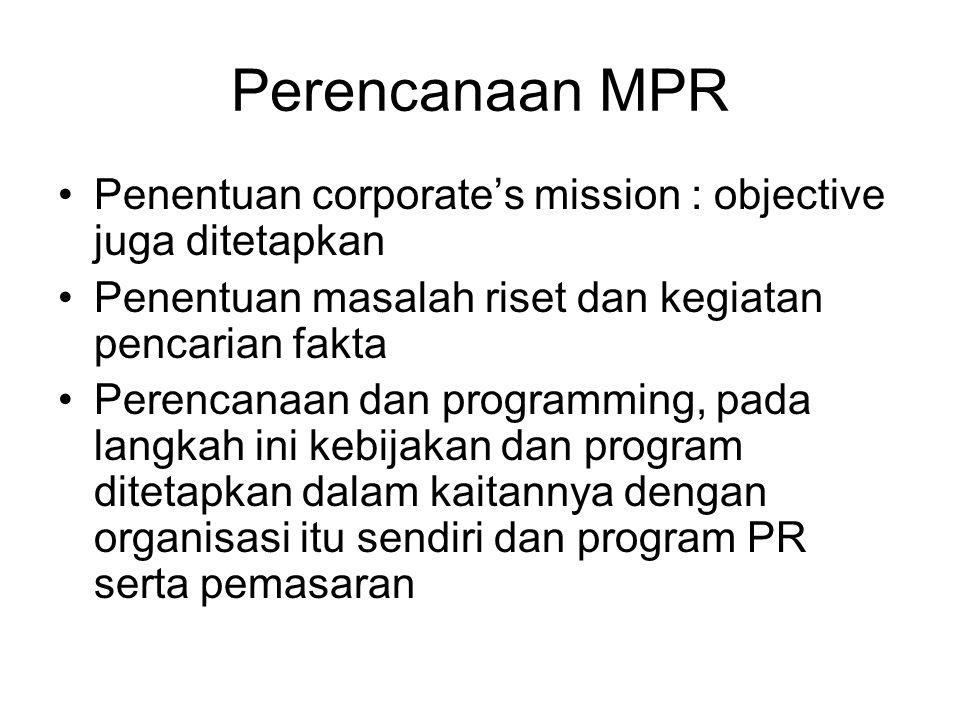 Perencanaan MPR Penentuan corporate's mission : objective juga ditetapkan. Penentuan masalah riset dan kegiatan pencarian fakta.