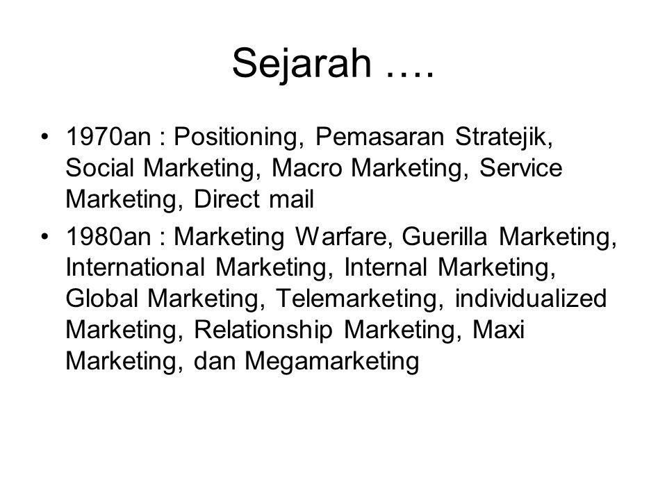 Sejarah …. 1970an : Positioning, Pemasaran Stratejik, Social Marketing, Macro Marketing, Service Marketing, Direct mail.