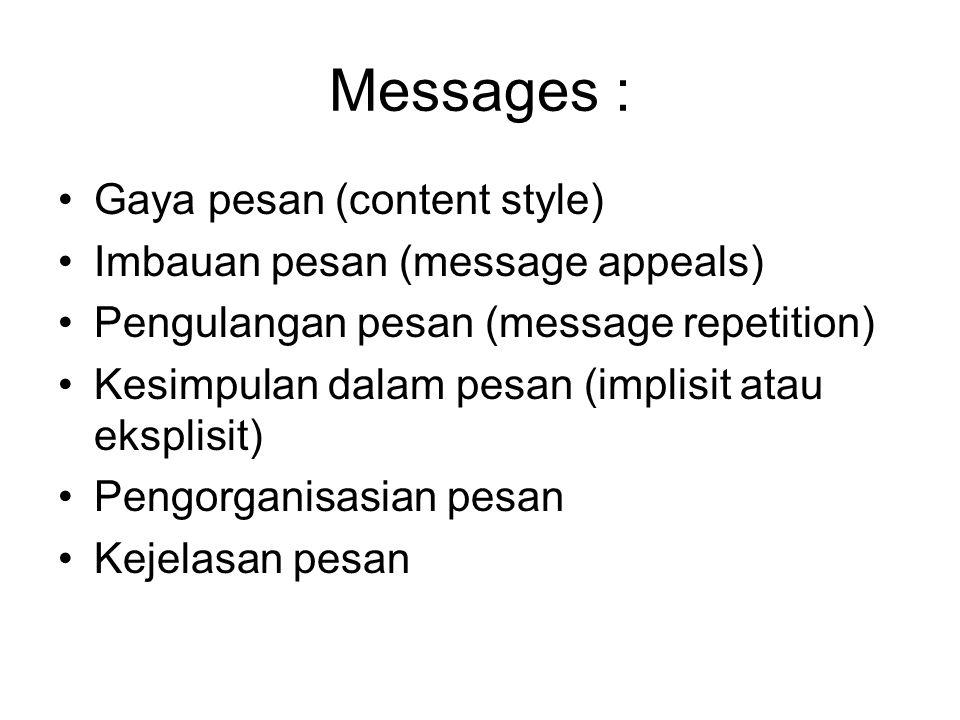 Messages : Gaya pesan (content style) Imbauan pesan (message appeals)