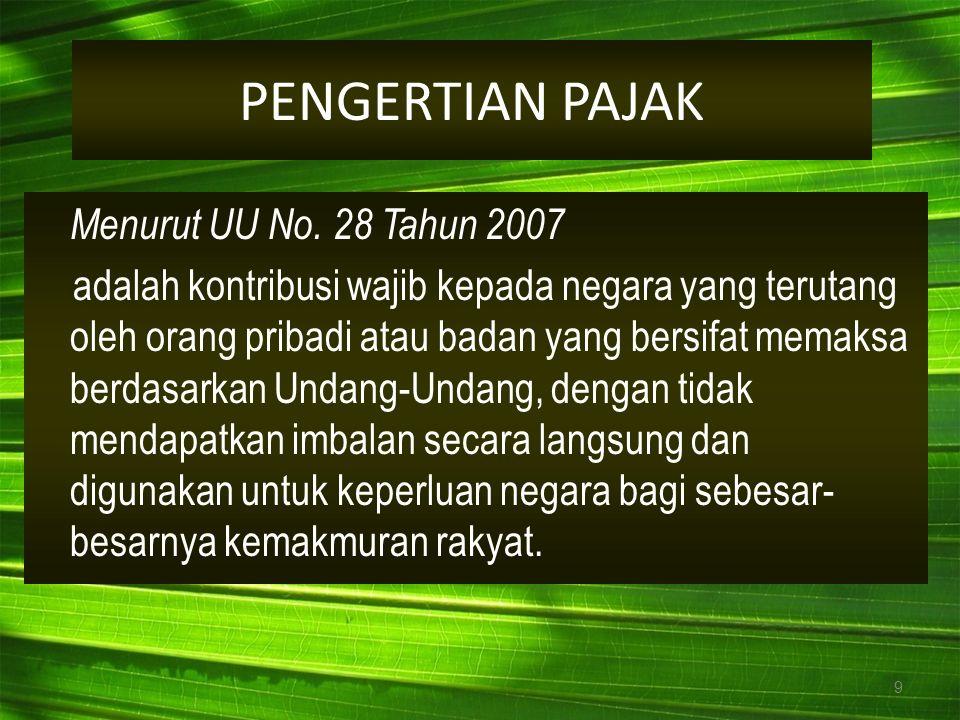PENGERTIAN PAJAK Menurut UU No. 28 Tahun 2007