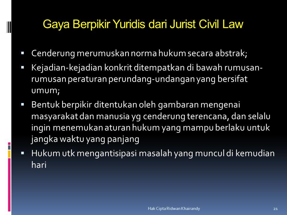 Gaya Berpikir Yuridis dari Jurist Civil Law