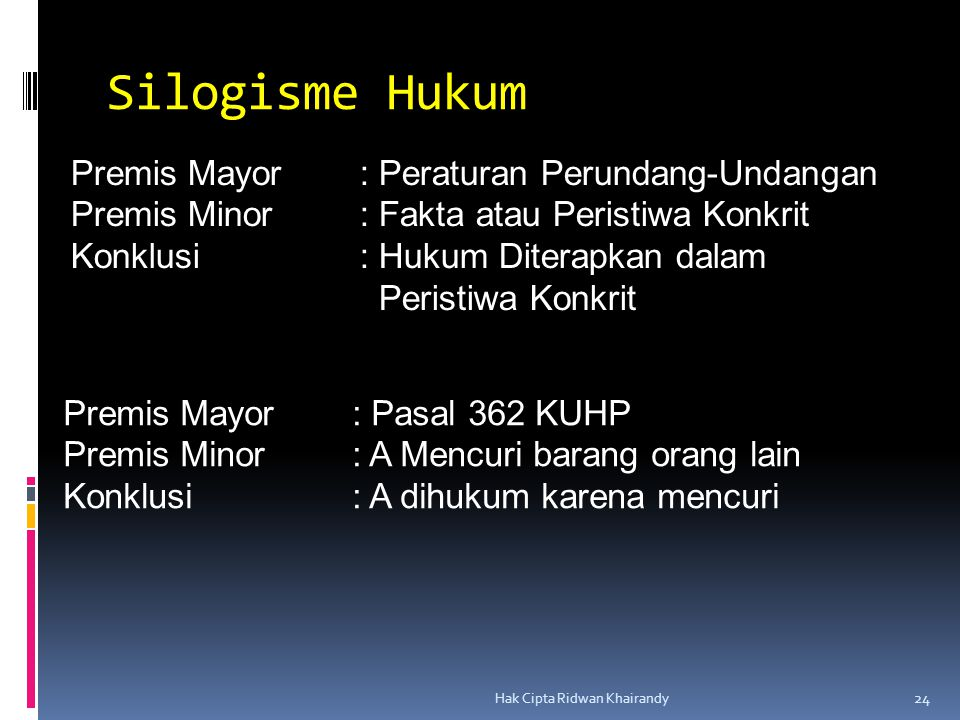 Silogisme Hukum Premis Mayor : Peraturan Perundang-Undangan