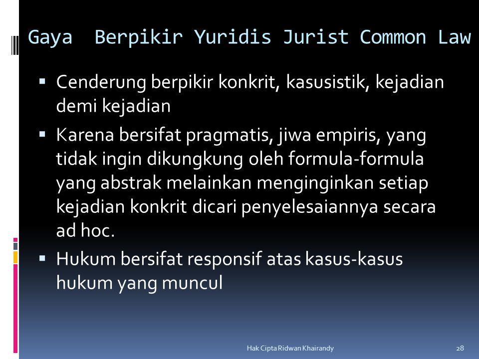 Gaya Berpikir Yuridis Jurist Common Law