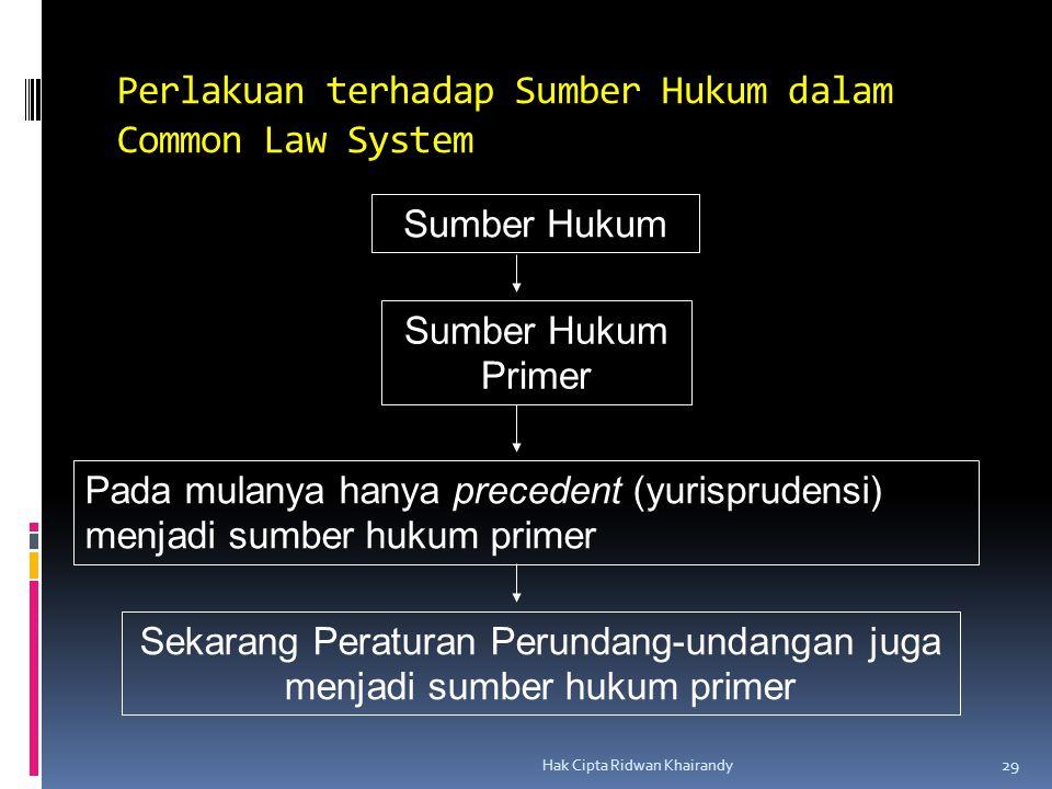 Perlakuan terhadap Sumber Hukum dalam Common Law System