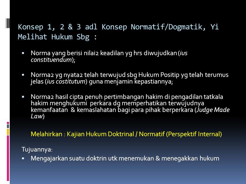 Konsep 1, 2 & 3 adl Konsep Normatif/Dogmatik, Yi Melihat Hukum Sbg :