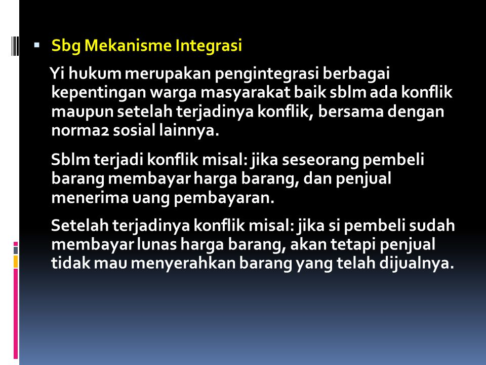 Sbg Mekanisme Integrasi