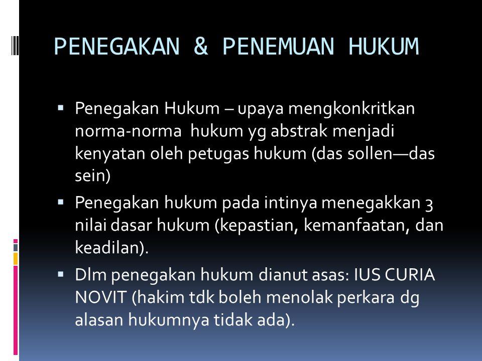PENEGAKAN & PENEMUAN HUKUM