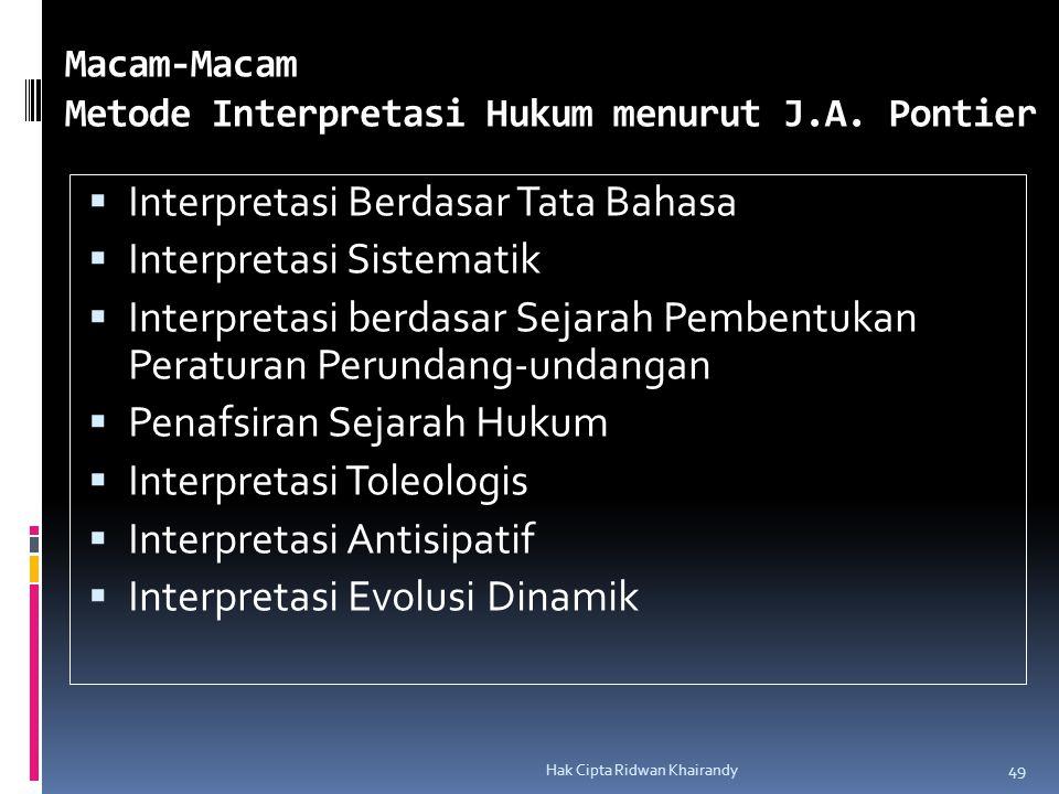 Macam-Macam Metode Interpretasi Hukum menurut J.A. Pontier