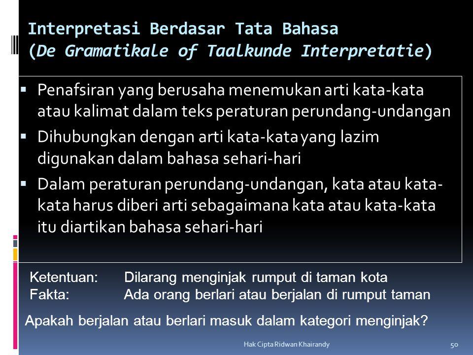 Interpretasi Berdasar Tata Bahasa (De Gramatikale of Taalkunde Interpretatie)