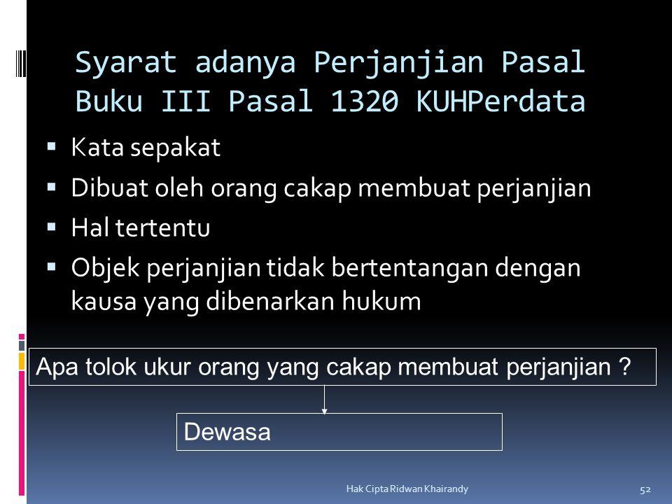 Syarat adanya Perjanjian Pasal Buku III Pasal 1320 KUHPerdata