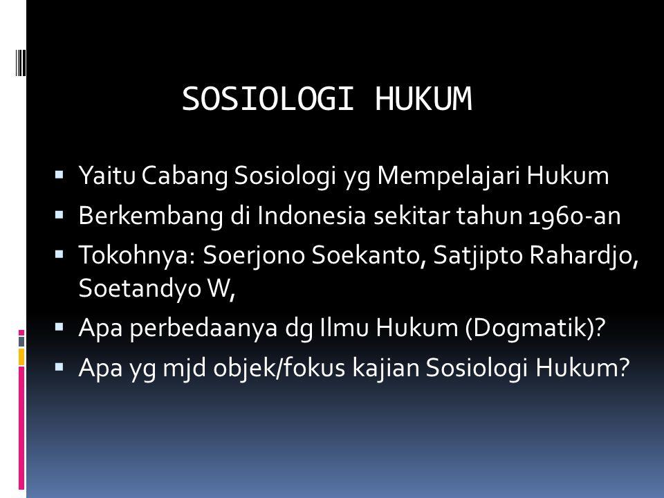 SOSIOLOGI HUKUM Yaitu Cabang Sosiologi yg Mempelajari Hukum