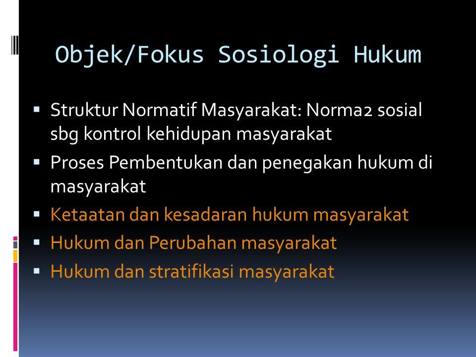 Objek/Fokus Sosiologi Hukum
