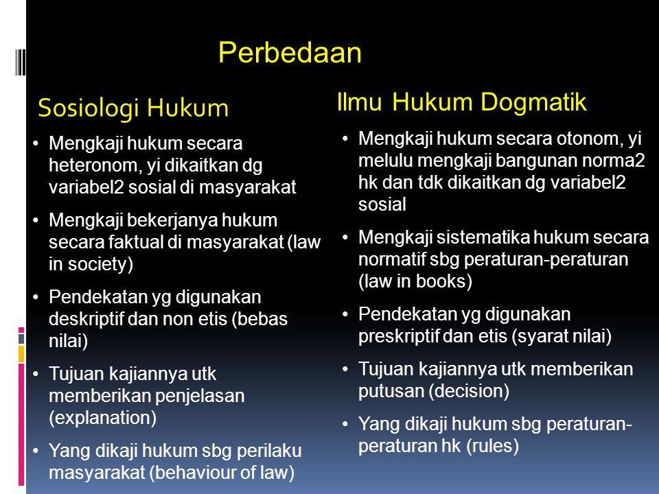 Perbedaan Sosiologi Hukum Ilmu Hukum Dogmatik