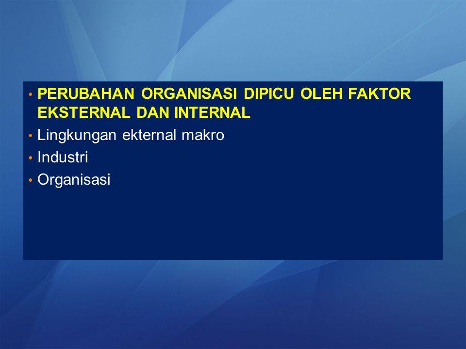 PERUBAHAN ORGANISASI DIPICU OLEH FAKTOR EKSTERNAL DAN INTERNAL