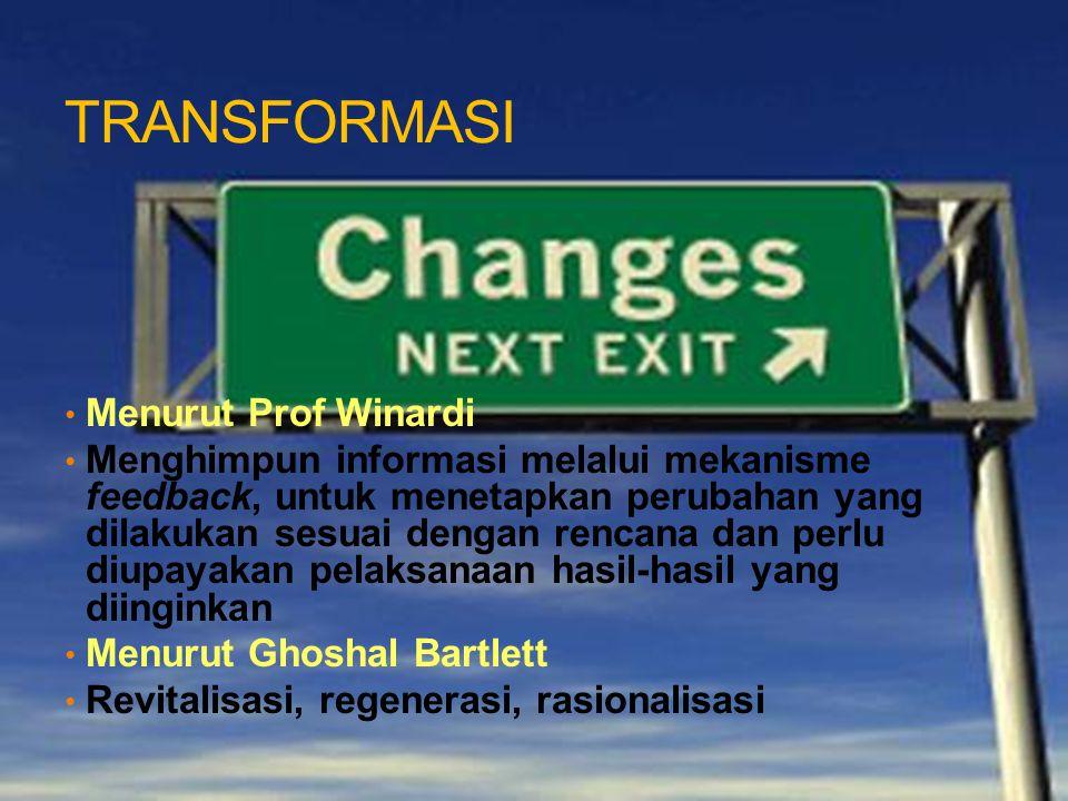 TRANSFORMASI Menurut Prof Winardi