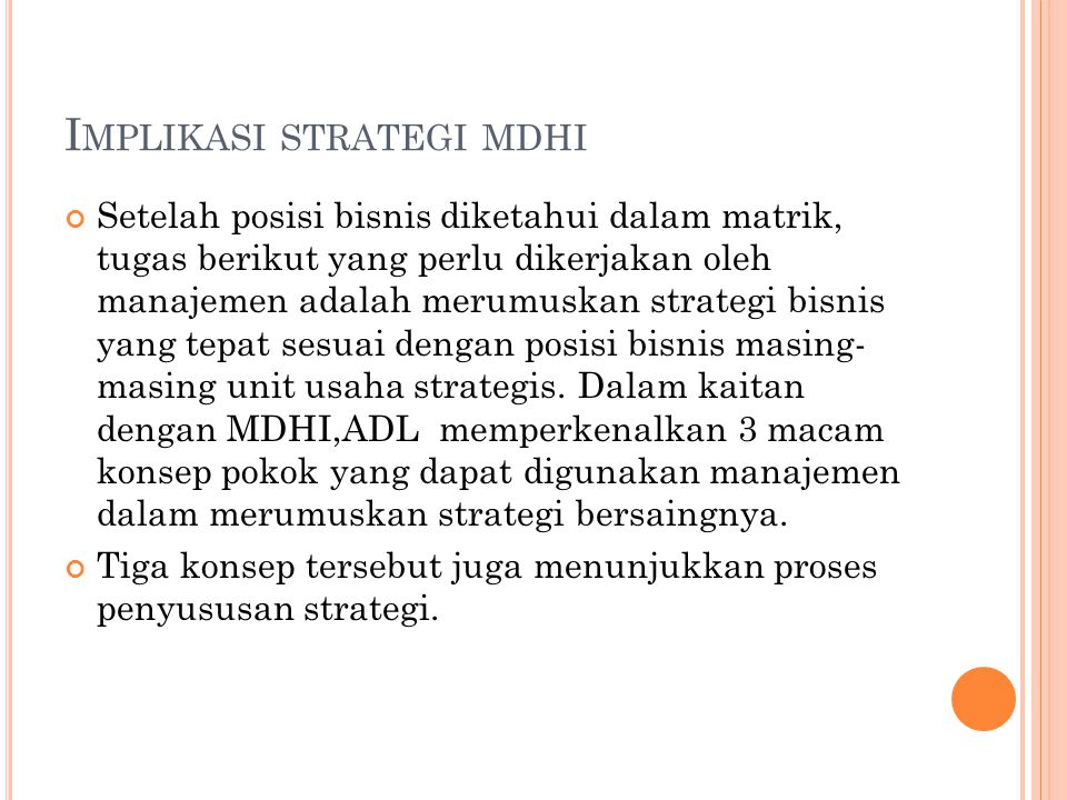 Implikasi strategi mdhi