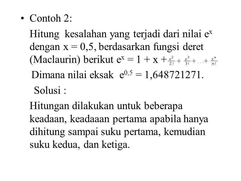 Contoh 2: Hitung kesalahan yang terjadi dari nilai ex dengan x = 0,5, berdasarkan fungsi deret (Maclaurin) berikut ex = 1 + x +