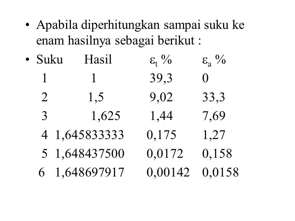 Apabila diperhitungkan sampai suku ke enam hasilnya sebagai berikut :