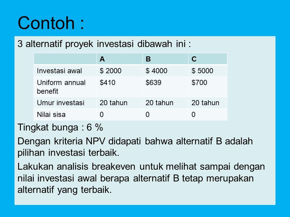 Contoh : 3 alternatif proyek investasi dibawah ini :