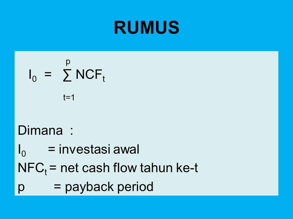 RUMUS p I0 = ∑ NCFt t=1 Dimana : I0 = investasi awal NFCt = net cash flow tahun ke-t p = payback period