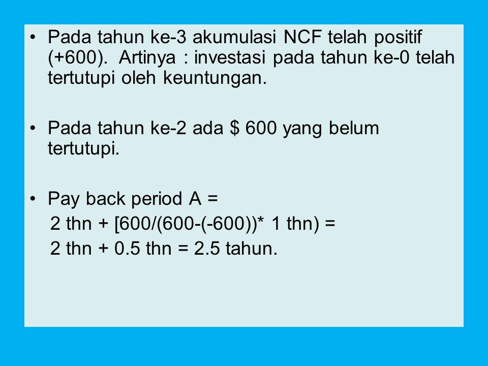 Pada tahun ke-3 akumulasi NCF telah positif (+600)