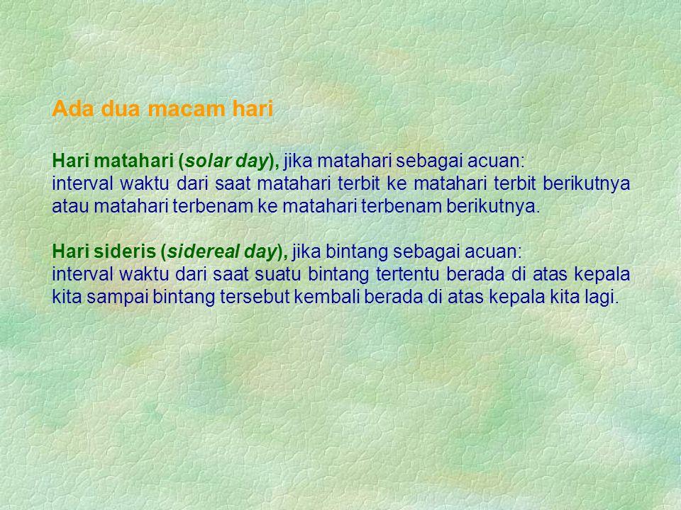 Ada dua macam hari Hari matahari (solar day), jika matahari sebagai acuan: