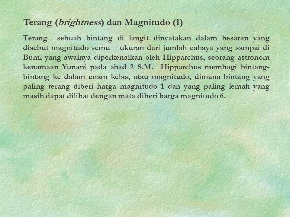 Terang (brightness) dan Magnitudo (1)