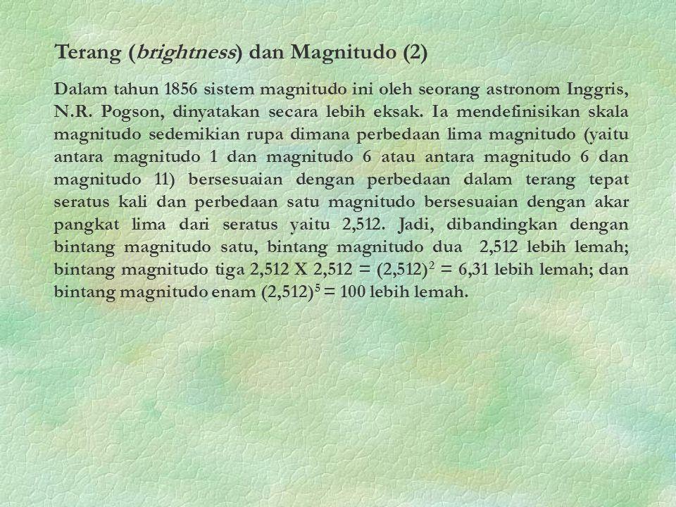 Terang (brightness) dan Magnitudo (2)