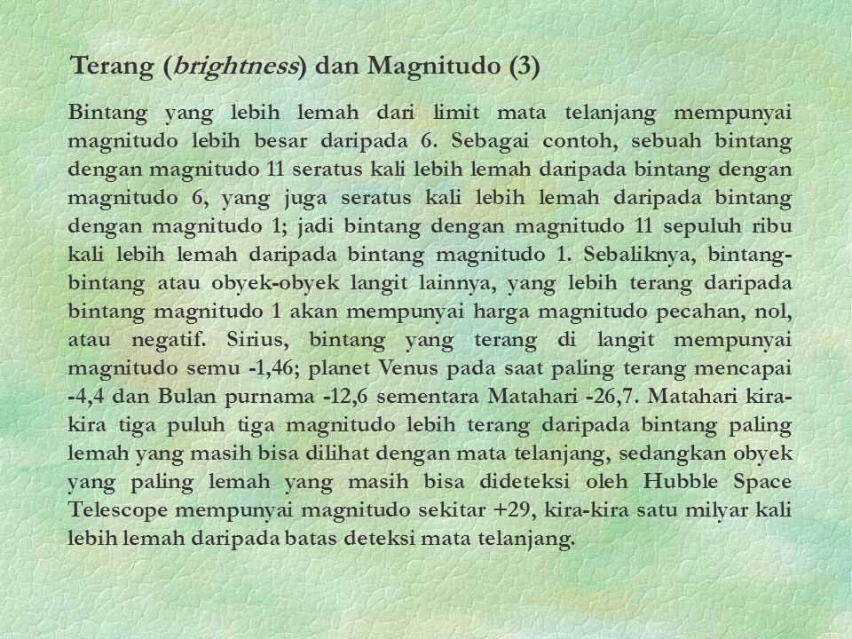 Terang (brightness) dan Magnitudo (3)