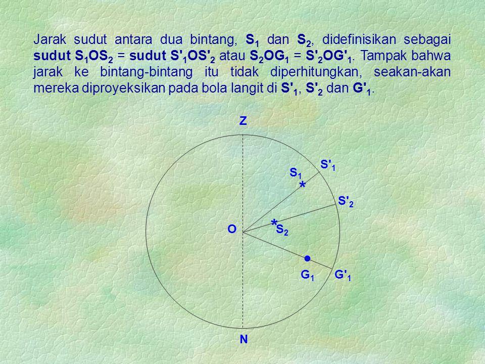 Jarak sudut antara dua bintang, S1 dan S2, didefinisikan sebagai sudut S1OS2 = sudut S 1OS 2 atau S2OG1 = S 2OG 1. Tampak bahwa jarak ke bintang-bintang itu tidak diperhitungkan, seakan-akan mereka diproyeksikan pada bola langit di S 1, S 2 dan G 1.