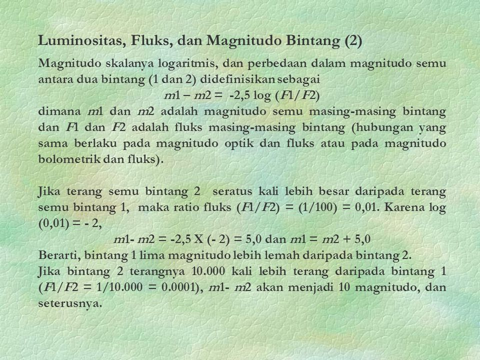 Luminositas, Fluks, dan Magnitudo Bintang (2)
