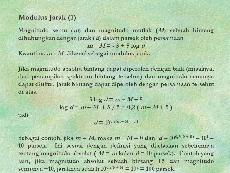 Modulus Jarak (1) Magnitudo semu (m) dan magnitudo mutlak (M) sebuah bintang dihubungkan dengan jarak (d) dalam parsek oleh persamaan.
