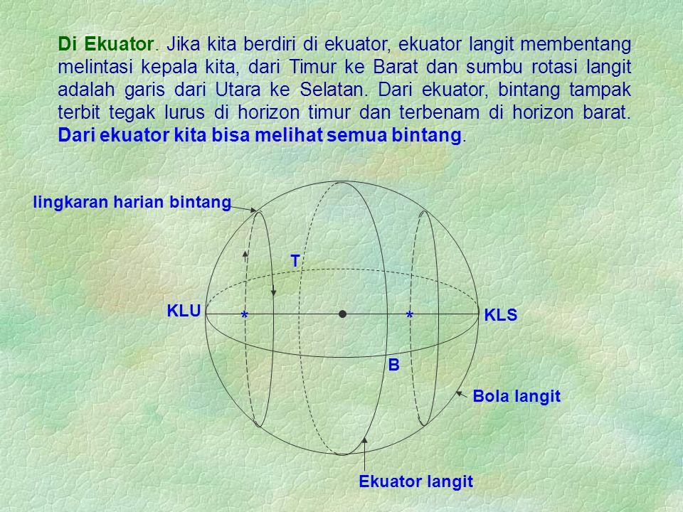 Di Ekuator. Jika kita berdiri di ekuator, ekuator langit membentang melintasi kepala kita, dari Timur ke Barat dan sumbu rotasi langit adalah garis dari Utara ke Selatan. Dari ekuator, bintang tampak terbit tegak lurus di horizon timur dan terbenam di horizon barat. Dari ekuator kita bisa melihat semua bintang.