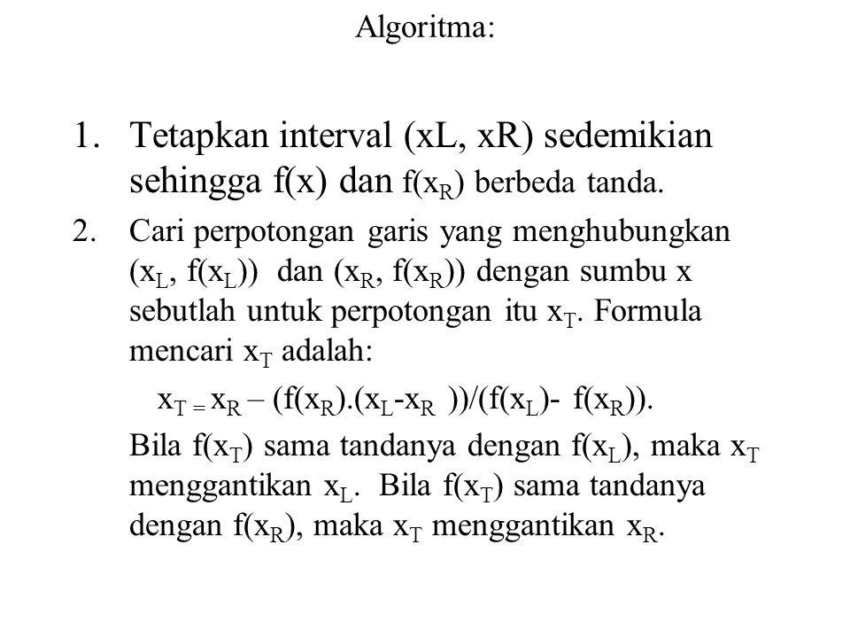 Algoritma: Tetapkan interval (xL, xR) sedemikian sehingga f(x) dan f(xR) berbeda tanda.