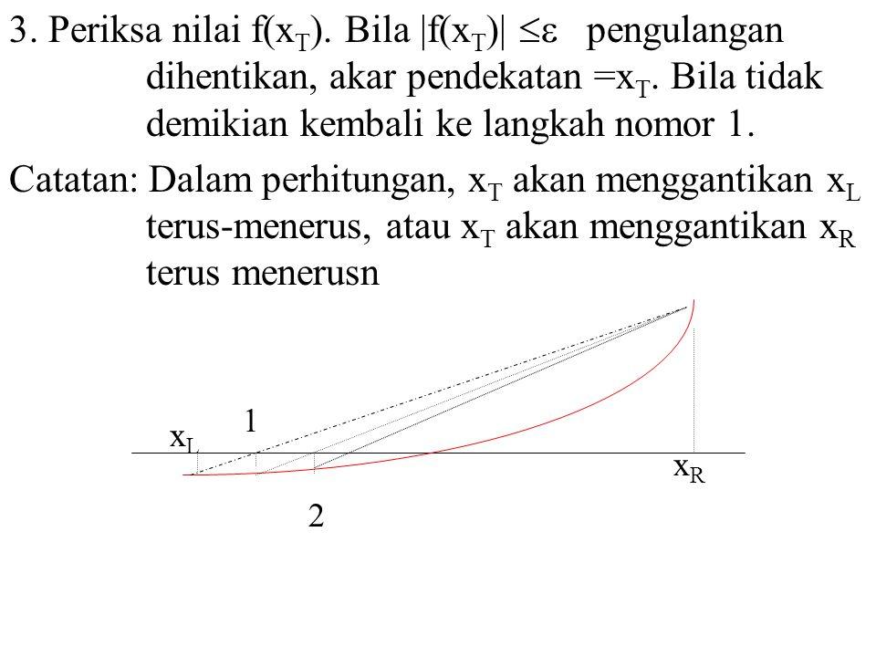 3. Periksa nilai f(xT). Bila |f(xT)|  pengulangan dihentikan, akar pendekatan =xT. Bila tidak demikian kembali ke langkah nomor 1.