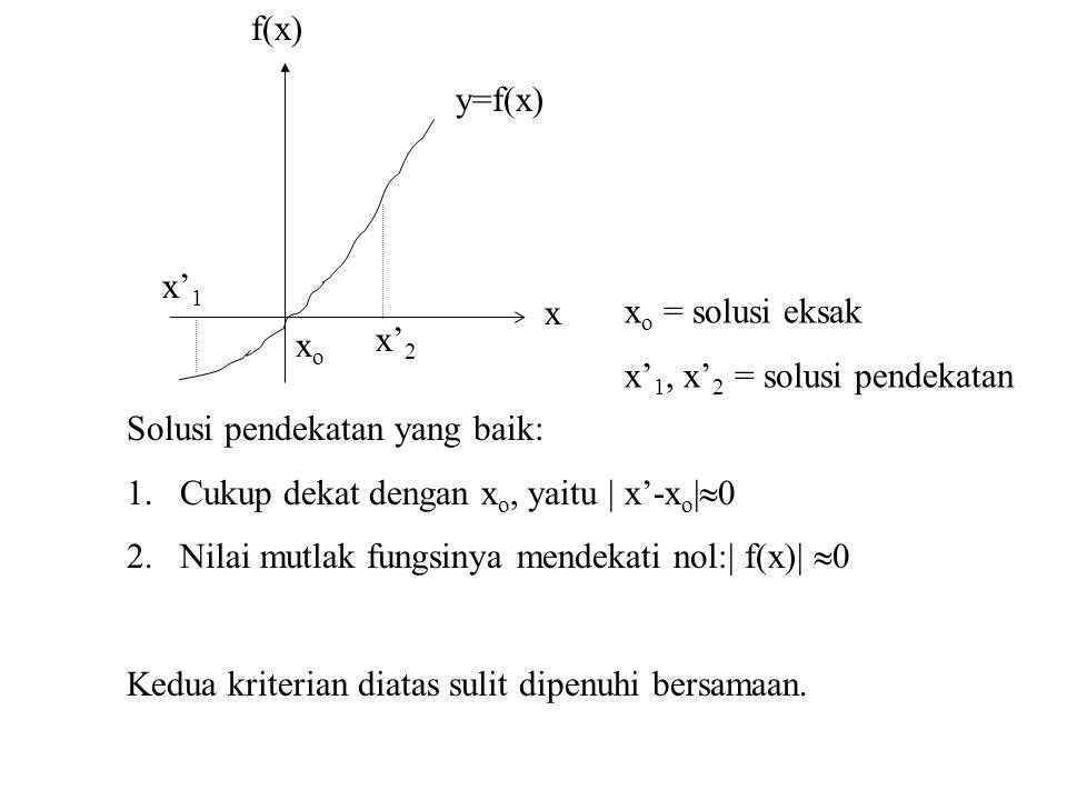 x'2 xo. x'1. y=f(x) f(x) x. xo = solusi eksak. x'1, x'2 = solusi pendekatan. Solusi pendekatan yang baik: