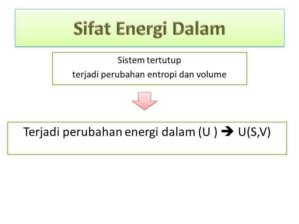 Sifat Energi Dalam Terjadi perubahan energi dalam (U )  U(S,V)