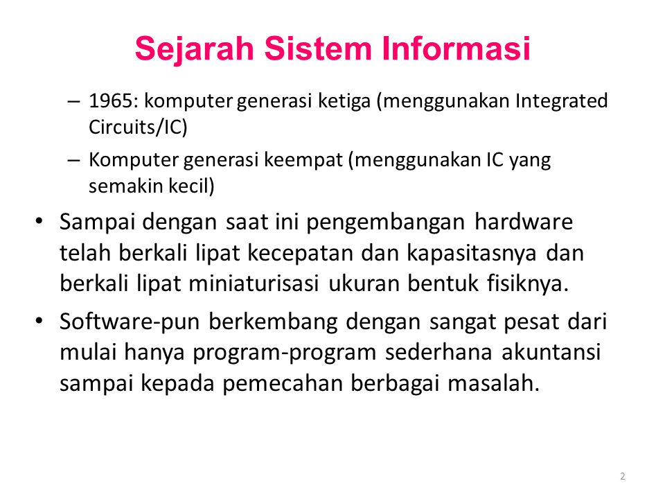 Sejarah Sistem Informasi