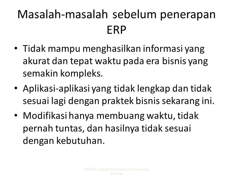 Masalah-masalah sebelum penerapan ERP