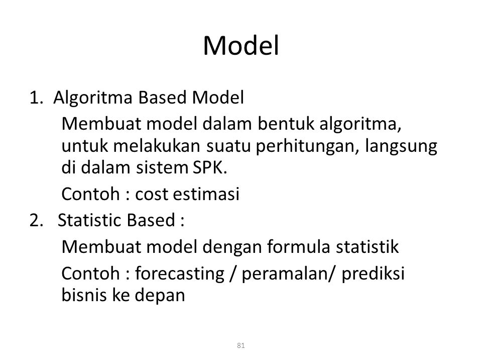 Model 1. Algoritma Based Model