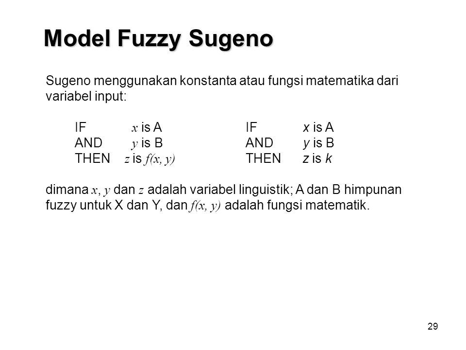 Model Fuzzy Sugeno Sugeno menggunakan konstanta atau fungsi matematika dari variabel input: IF x is A.