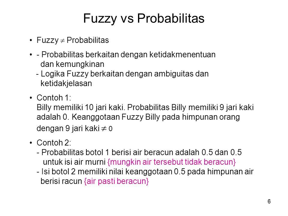 Fuzzy vs Probabilitas Fuzzy  Probabilitas