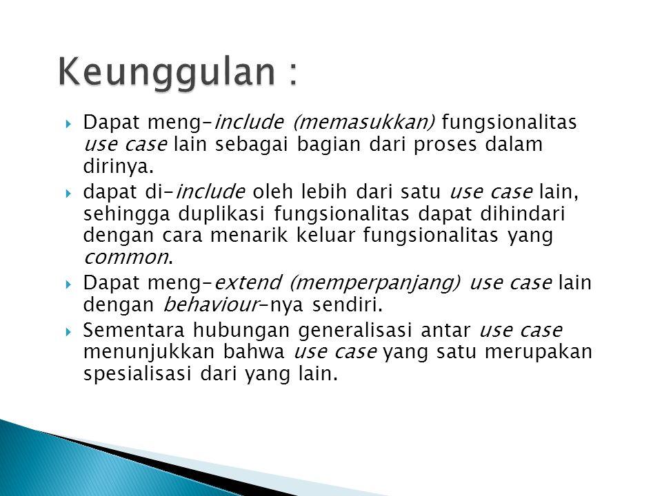Keunggulan : Dapat meng-include (memasukkan) fungsionalitas use case lain sebagai bagian dari proses dalam dirinya.