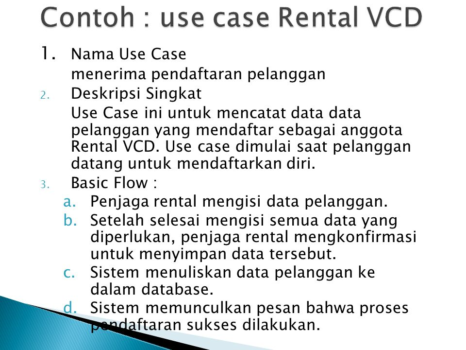 Contoh : use case Rental VCD