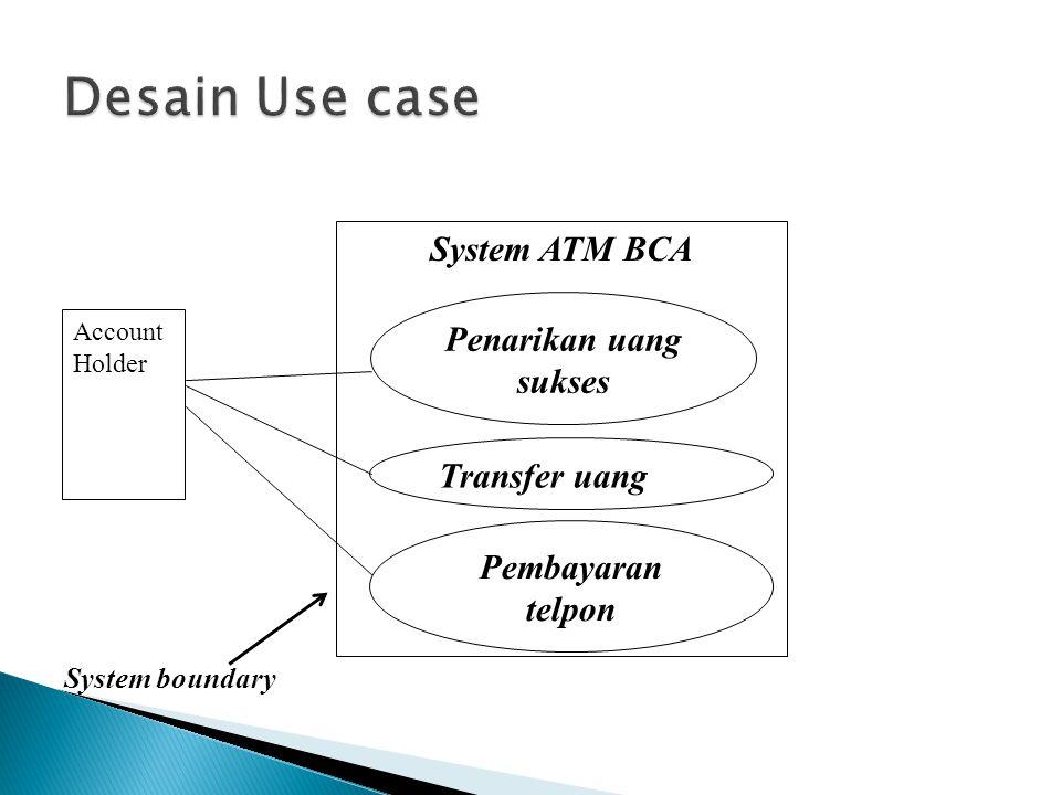Desain Use case System ATM BCA Penarikan uang sukses Transfer uang