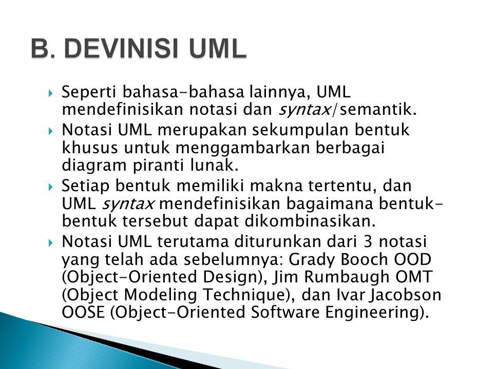 B. DEVINISI UML Seperti bahasa-bahasa lainnya, UML mendefinisikan notasi dan syntax/semantik.