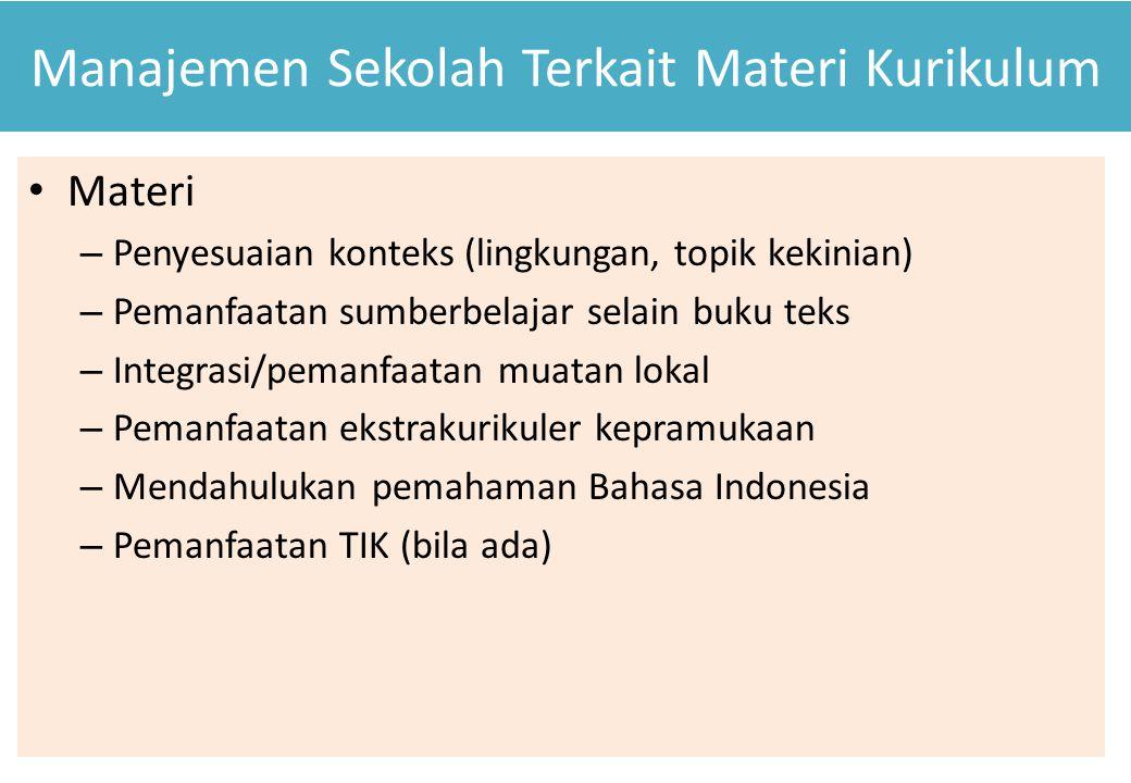 Manajemen Sekolah Terkait Materi Kurikulum