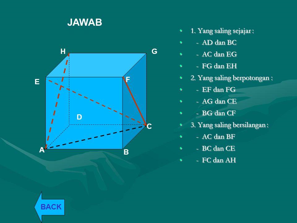 JAWAB 1. Yang saling sejajar : - AD dan BC - AC dan EG - FG dan EH