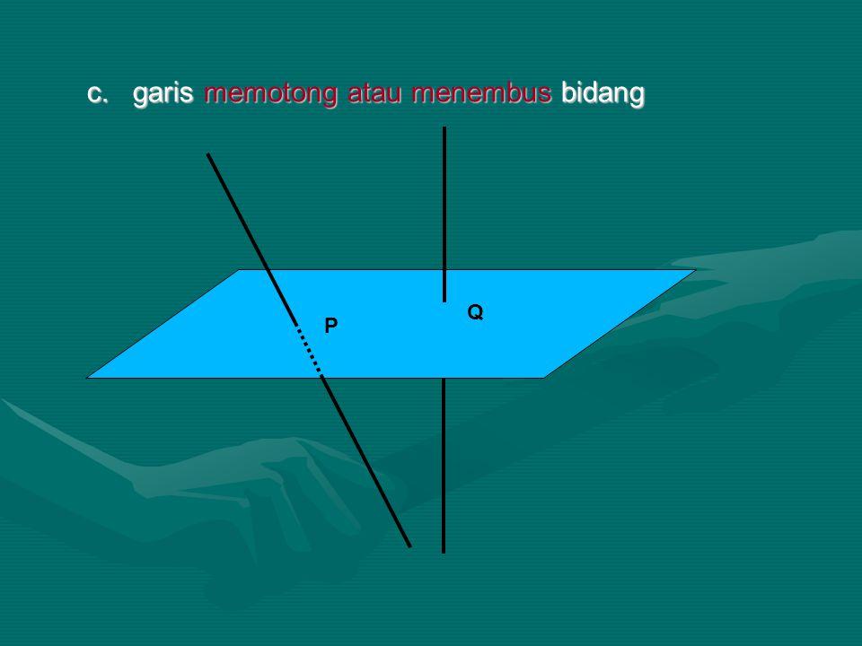 c. garis memotong atau menembus bidang